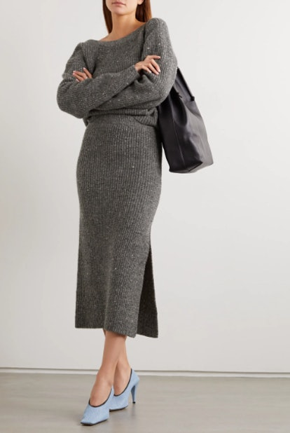 Tony ribbed wool and cashmere-blend midi skirt