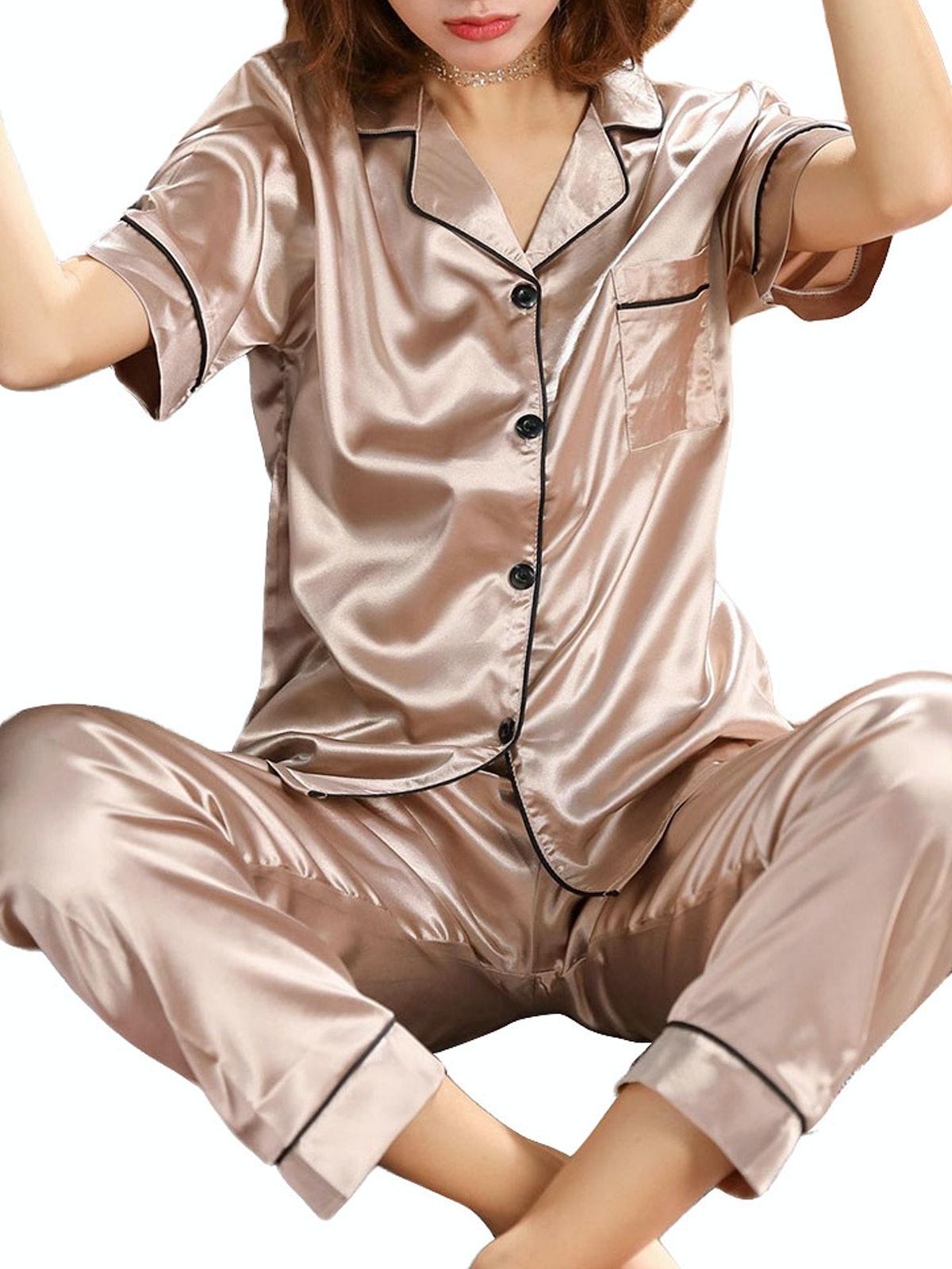 Xingqing Satin Silk Casual Homewear Pyjamas Short Sleeve Sleepwear Suits Home Nightwear
