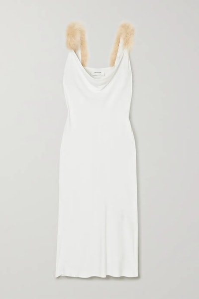 Feather-trimmed draped voile midi dress