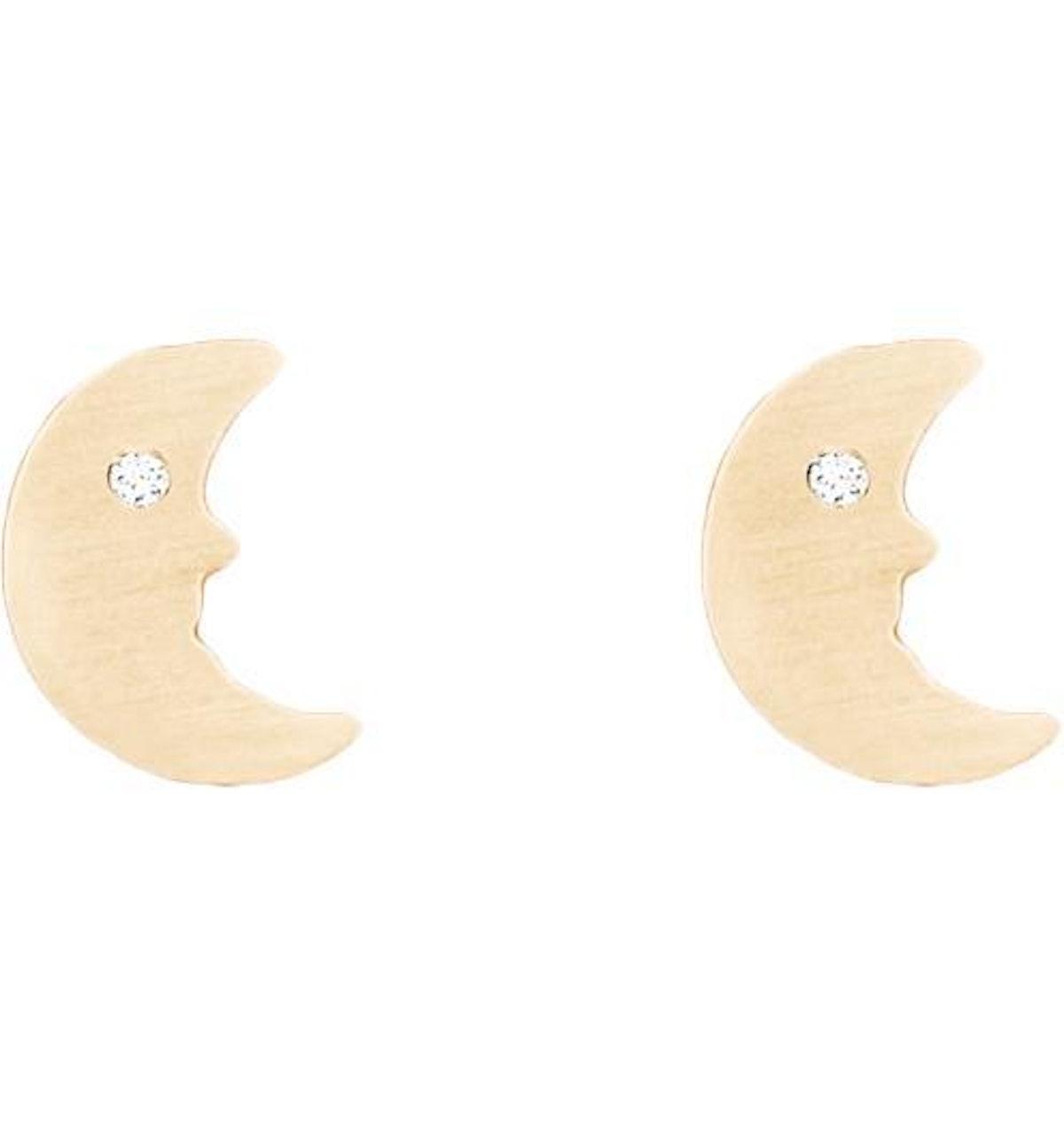 Crescent Moon Studs