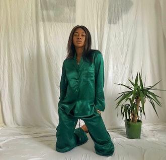 Emerald Green Maya Silk Set