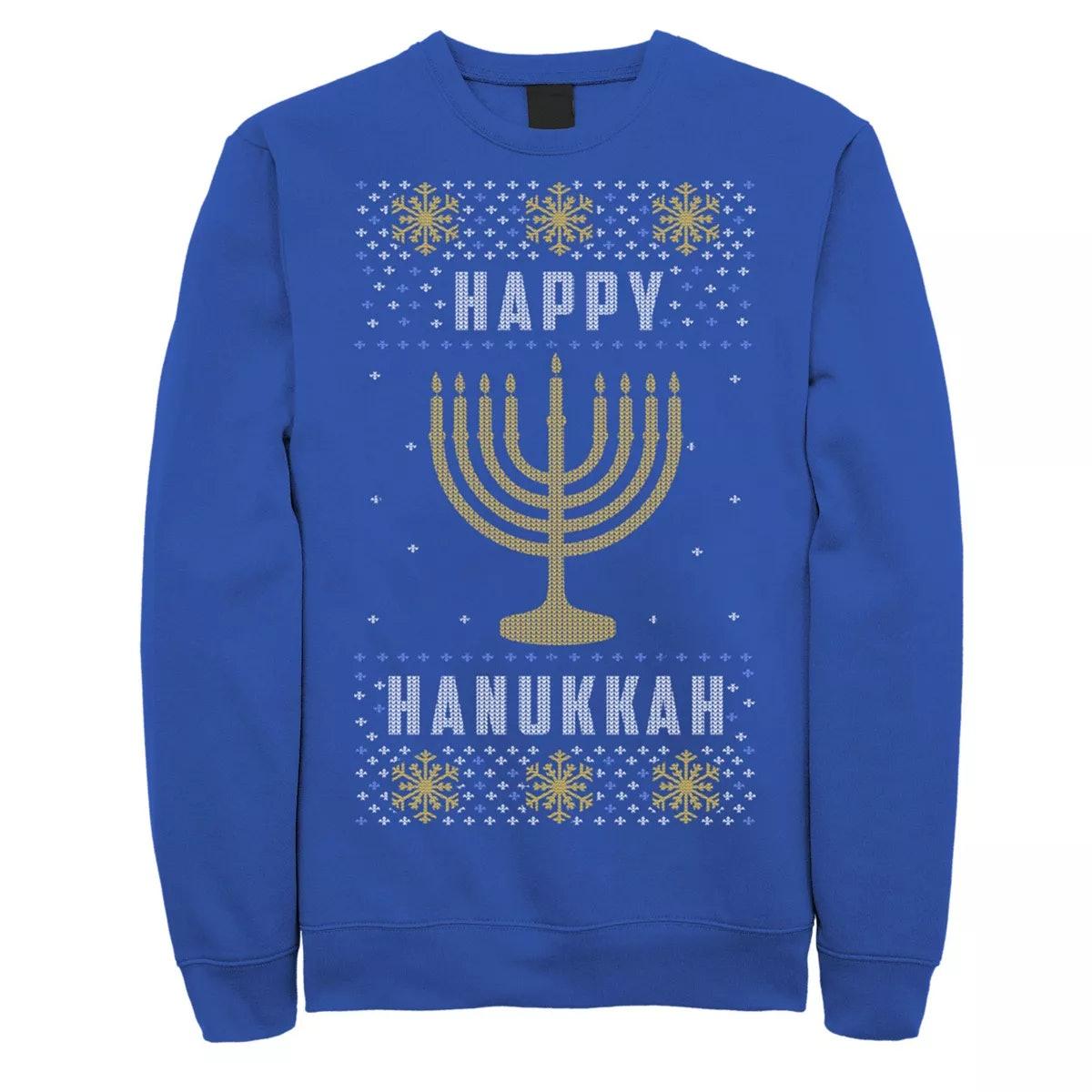 Licensed Character Happy Hanukkah Menorah Knit Style Sweatshirt