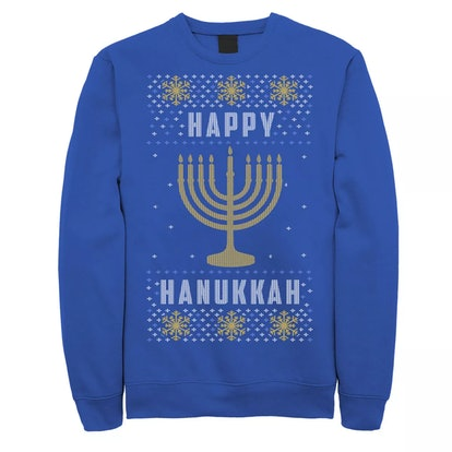 Licensed Character Happy Hanukkah Menorah Knit Style Sweatshirt