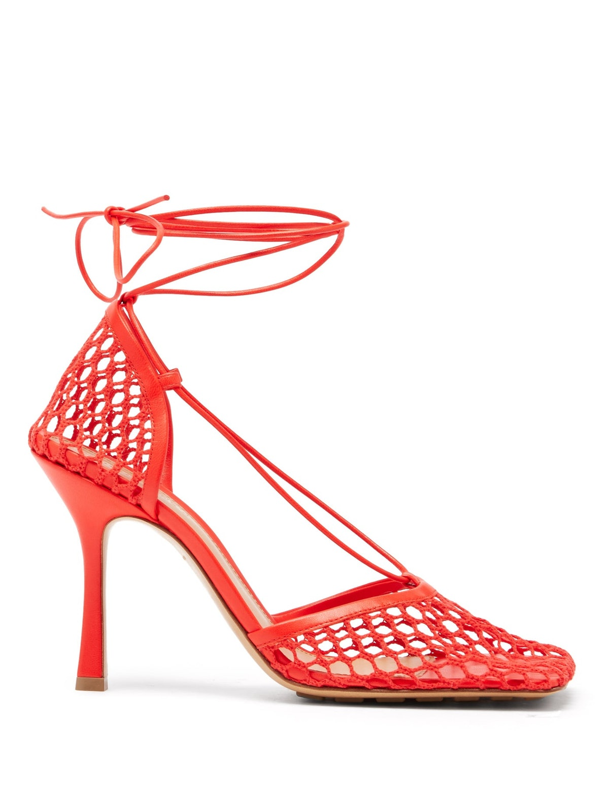 Stretch Wraparound Leather And Mesh Pumps