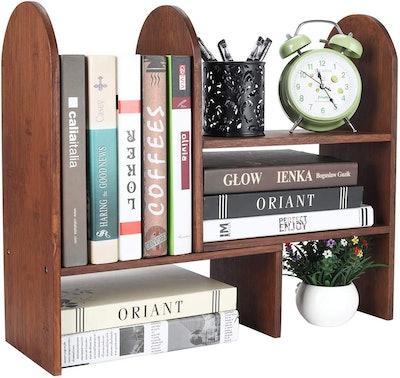 TQVAI Natural Bamboo Desktop Bookshelf