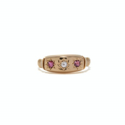 Diamond and Ruby Star Gypsy Ring