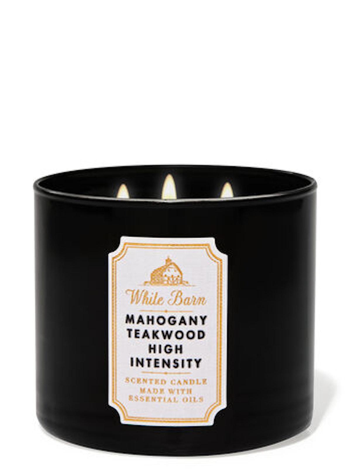Mahogany Teakwood High Intensity Three-Wick Candle