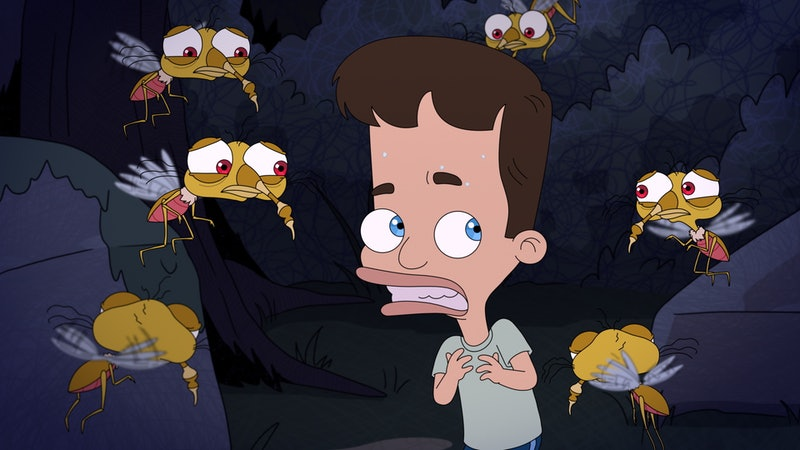 Nick surrounded by Anxiety Mosquitos in 'Big Mouth' Season 4 via the Netflix press site
