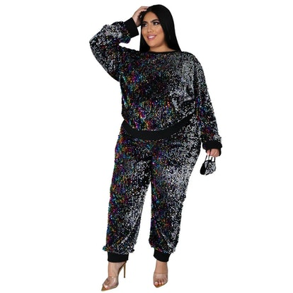 Curvelover Sequin Jogger Two Piece Set