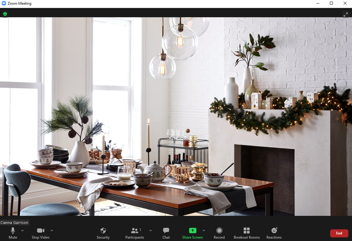 These fireplace Zoom backgrounds include holiday options.