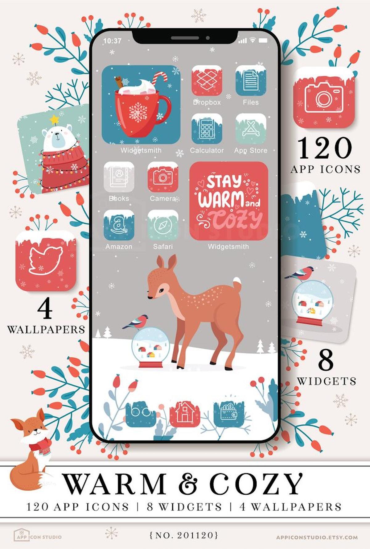 Cute Aesthetic Winter iOS 14 Home Screen Design
