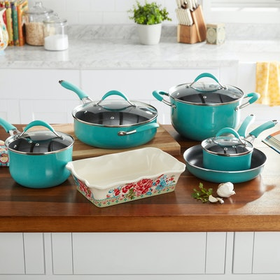 The Pioneer Woman Frontier Speckle 10-Piece Cookware Set (Turquoise)