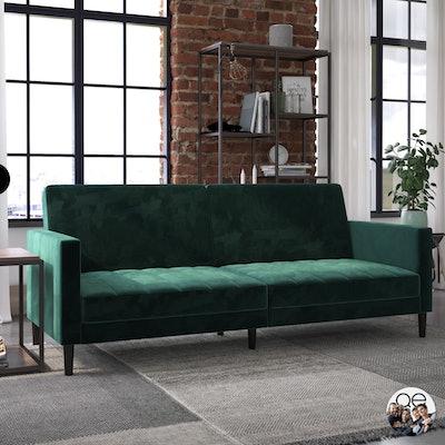 Queer Eye Liam Sofa Bed in Green Velvet