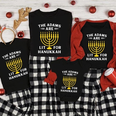 Lit For Hanukkah Personalized Tee Shirts