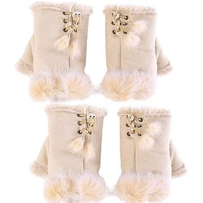 Novawo Fur-Trimmed Fingerless Gloves (2 Pairs)