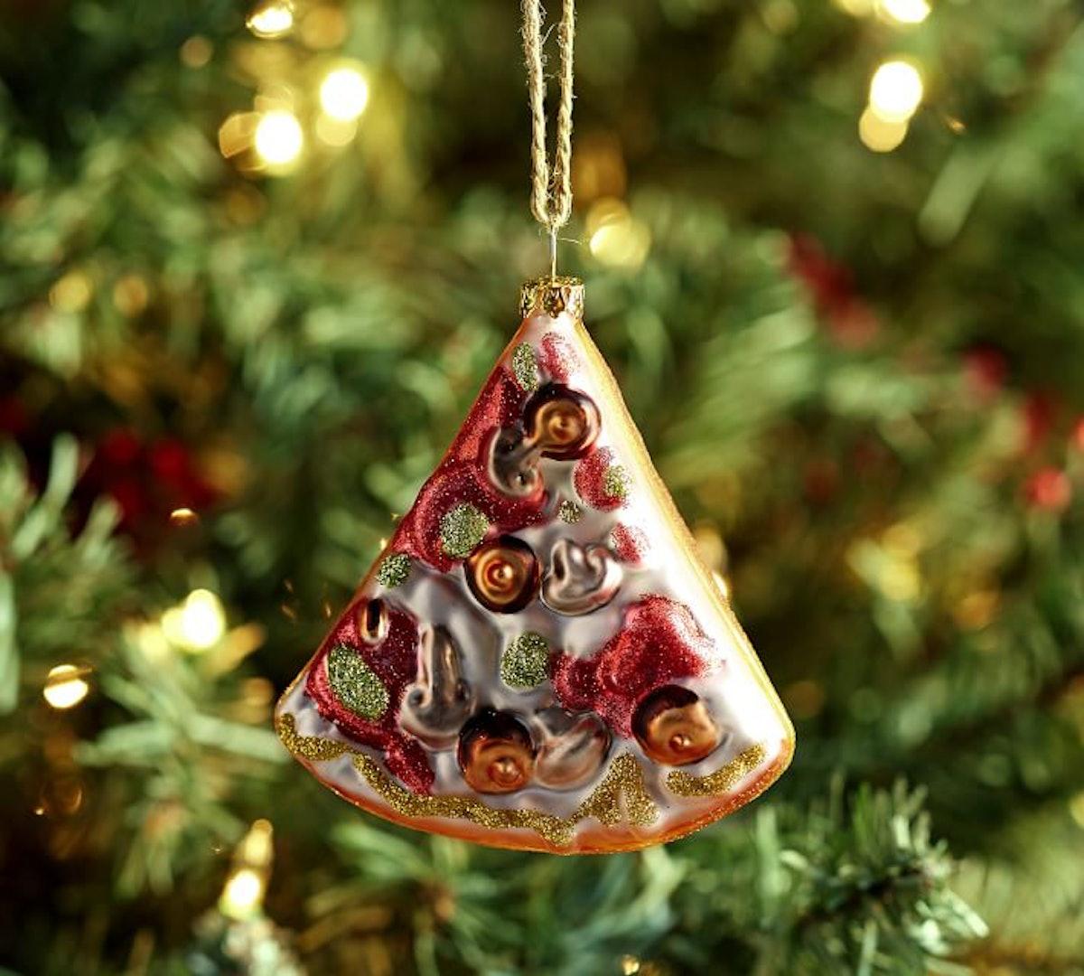 Mercury Glass Pizza Slice Ornament