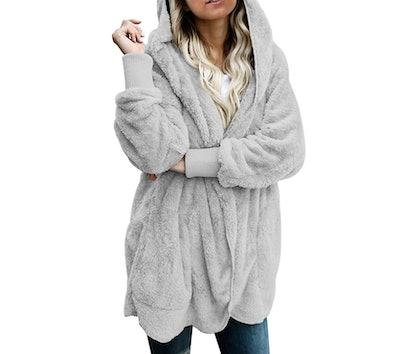 Dokotoo Fuzzy Fleece Hooded Cardigan