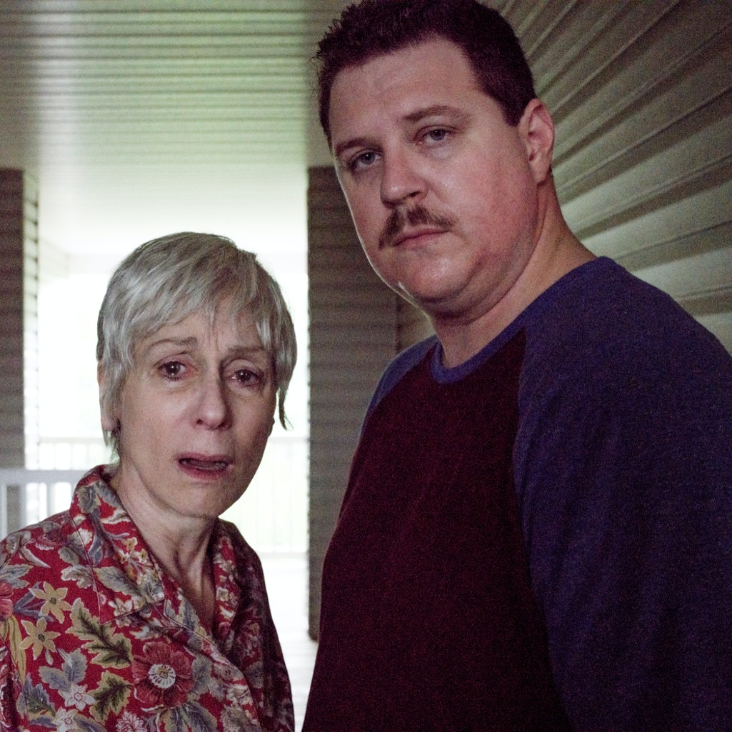 Cameron Britton and Judith Light in 'Manhunt: Deadly Games.'
