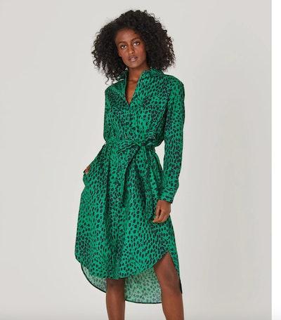 Green Leopard Print Shirtdress