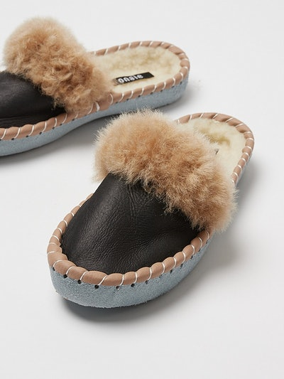 ONAIE Dark Mule Sheepskin Slippers