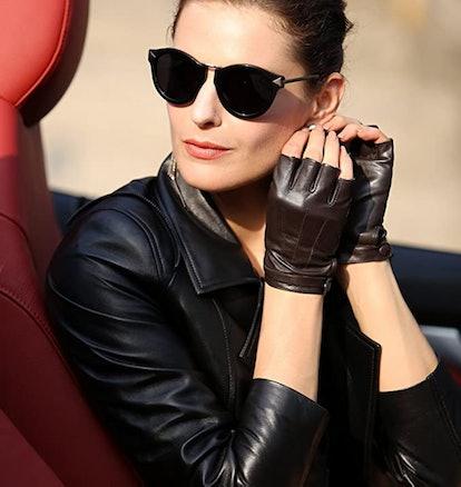 Warmen Fingerless Lambskin Leather Gloves