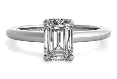 Solitaire Diamond Gallery Emerald Cut Engagement Ring