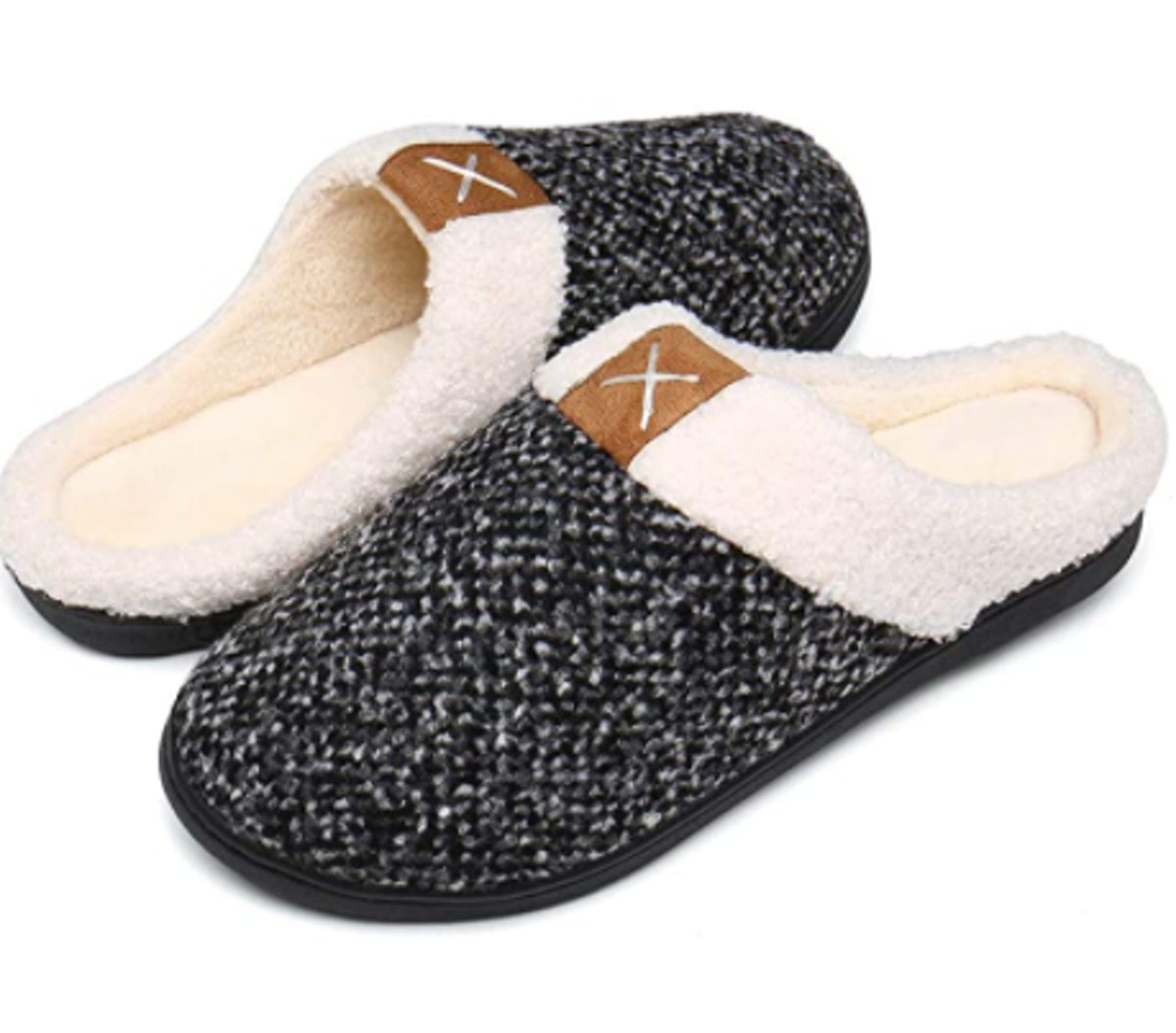 UBFEN Womens Mens Slippers Memory Foam Comfort Fuzzy Plush Lining Slip On House Shoes Indoor Outdoor