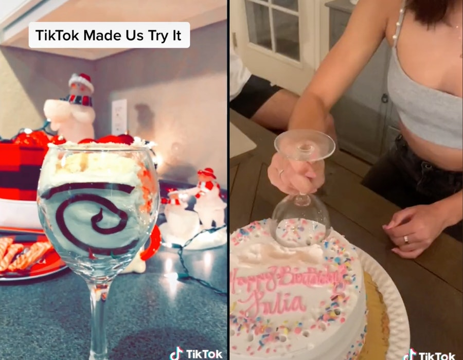 Wine glass cake cutting trend on TikTok.