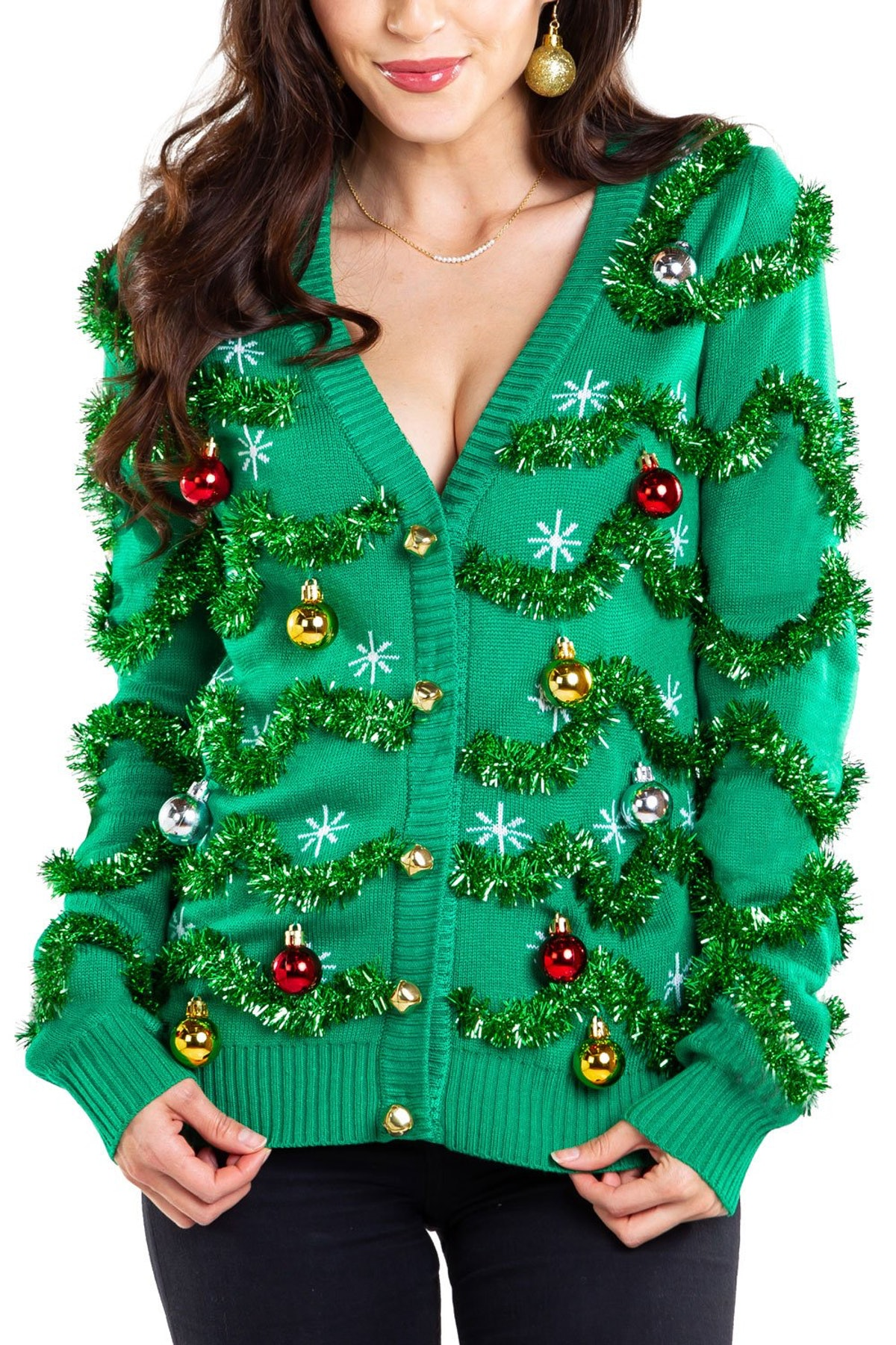 Women's Gaudy Garland Ugly Christmas Cardigan