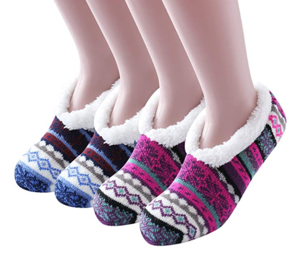 Ninecoo Fleece-Lined Ankle Slipper Socks Ankle (2-Pack)