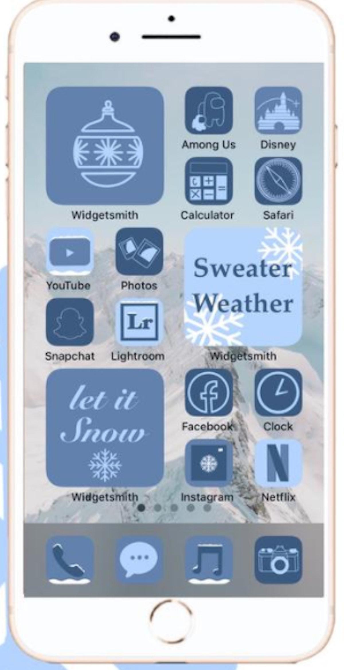 Icy Winter Wonderland iOS 14 Home Screen Theme