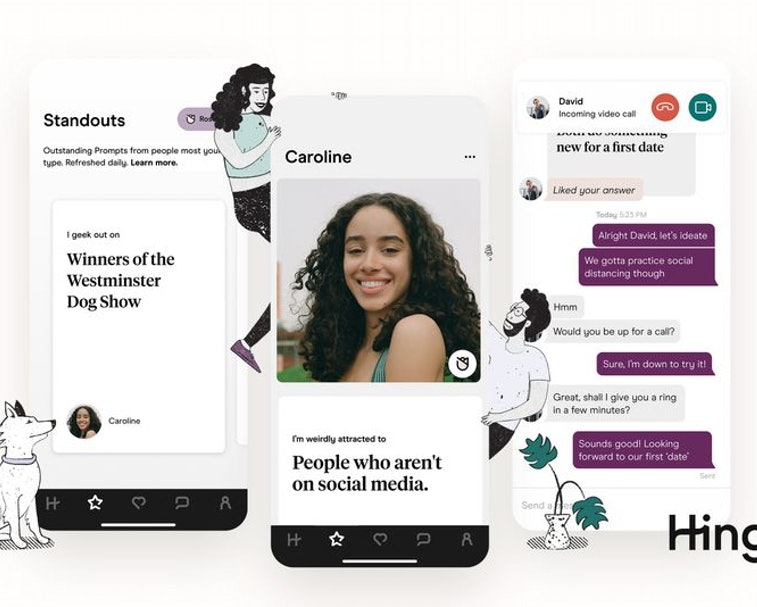 Demo of Hinge's new features: Standouts and Roses on triad of phones