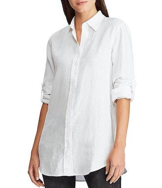 Long Roll-Tab Sleeve Button Down Linen Shirt