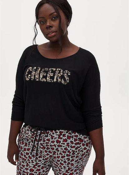 Torrid Black Cheers Sequins Sleep Sweatshirt