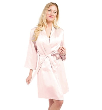 Fishers Finery 100% Pure Mulberry Silk Mid-Length Robe with Pockets