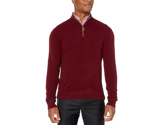 Buttoned Down Cashmere Quarter-Zip Sweater