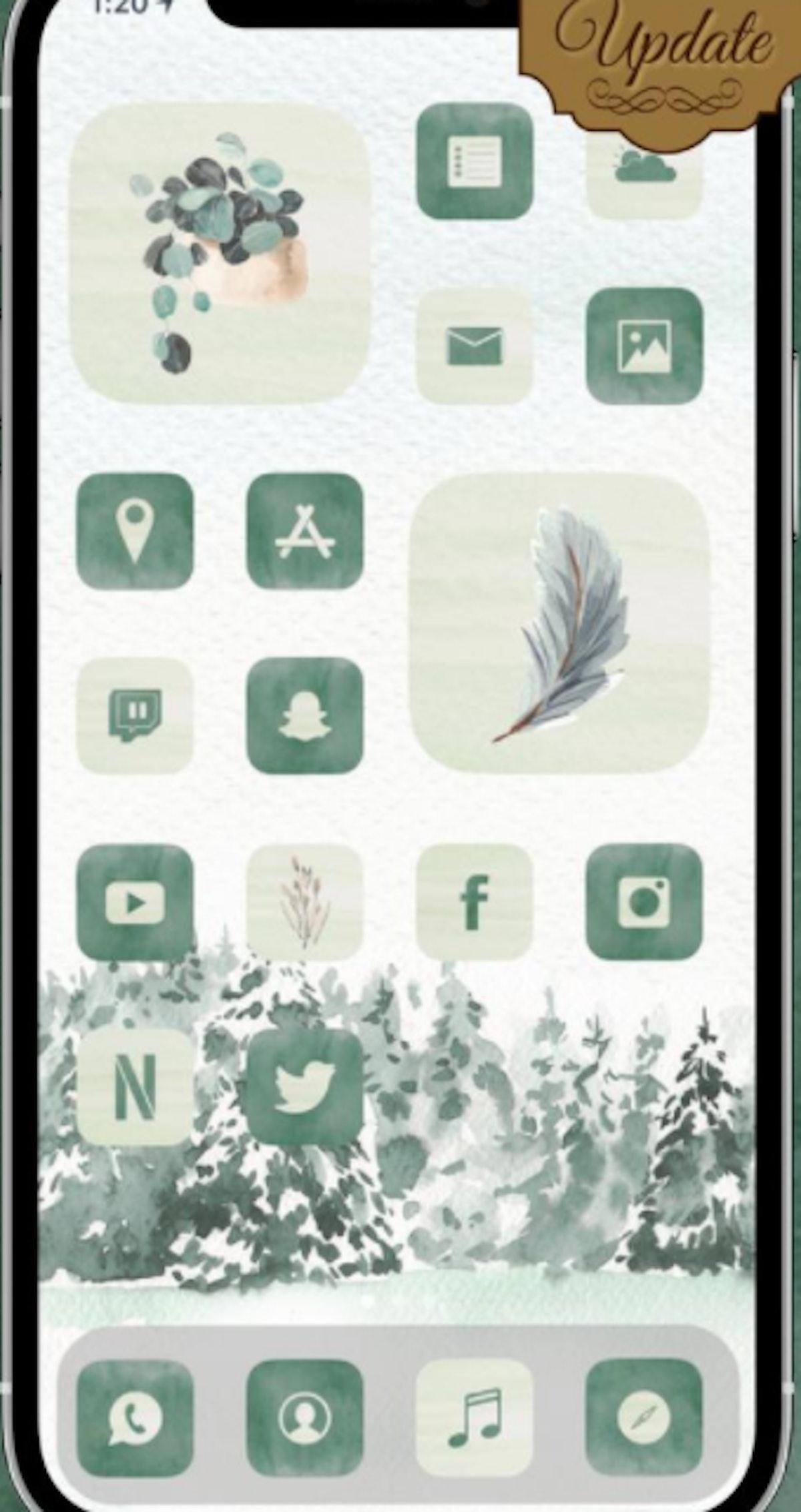 Watercolor Greenery Winter iOS 14 Home Screen Idea