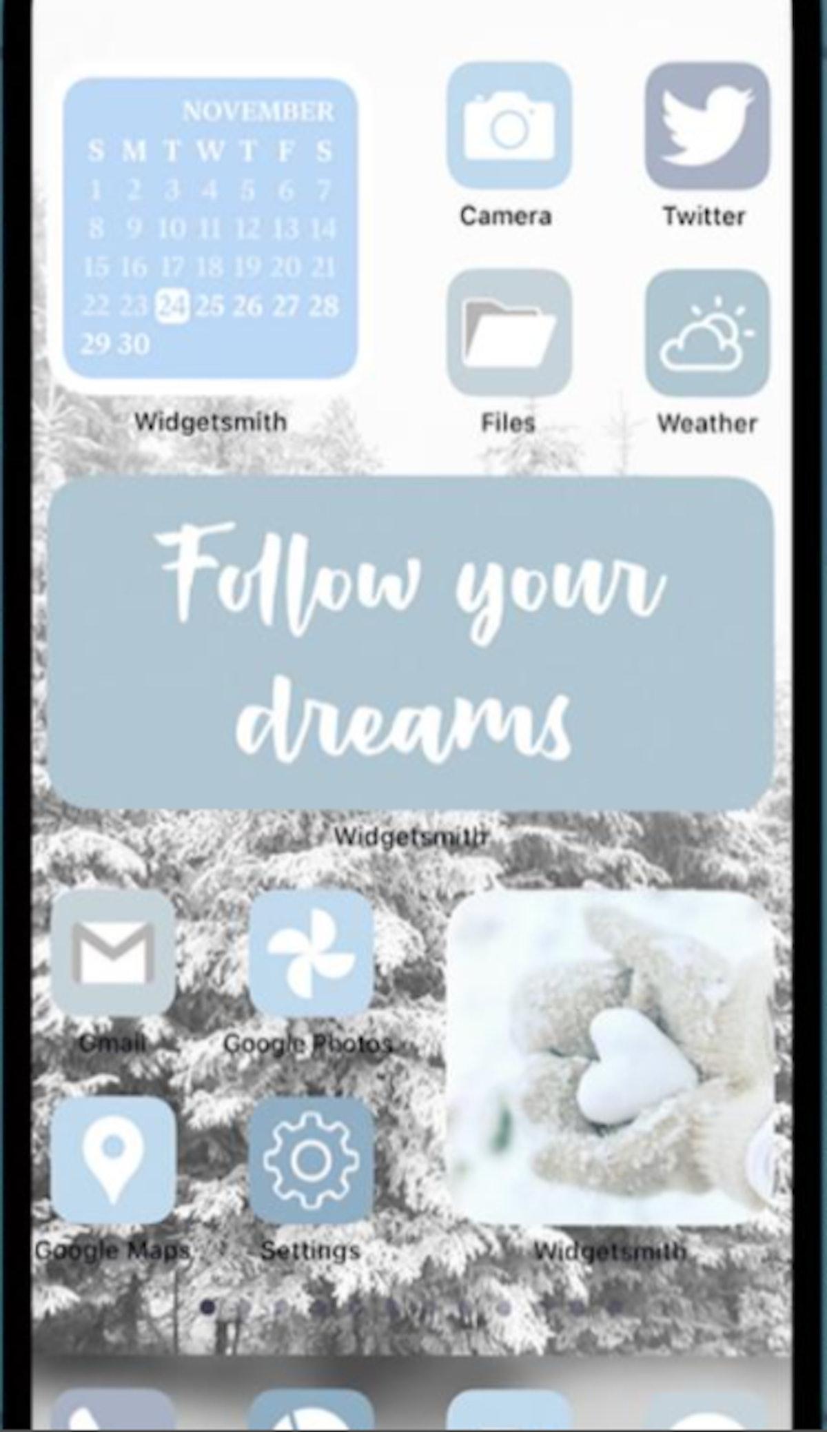 White & Blue Shades Winter iOS 14 Home Screen Pack