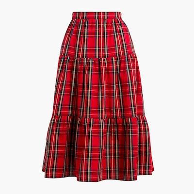 Three-tier tartan midi skirt