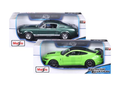 Maisto 1:18 Die Cast Vehicle 2-Pack, 1967 Mustang GTA Fastback and 2020 Shelby GT500