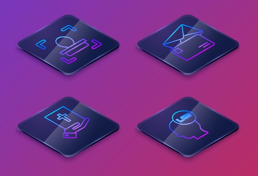 Set Isometric line Face recognition, Oath on the Holy Bible, Envelope and Head with law. Blue square button. Vector