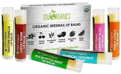 USDA Organic Lip Balm by Sky Organics – 6 Pack Assorted Flavors