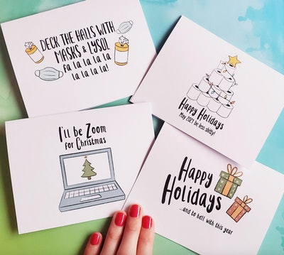 Set of 4 Funny 2020 Christmas Cards