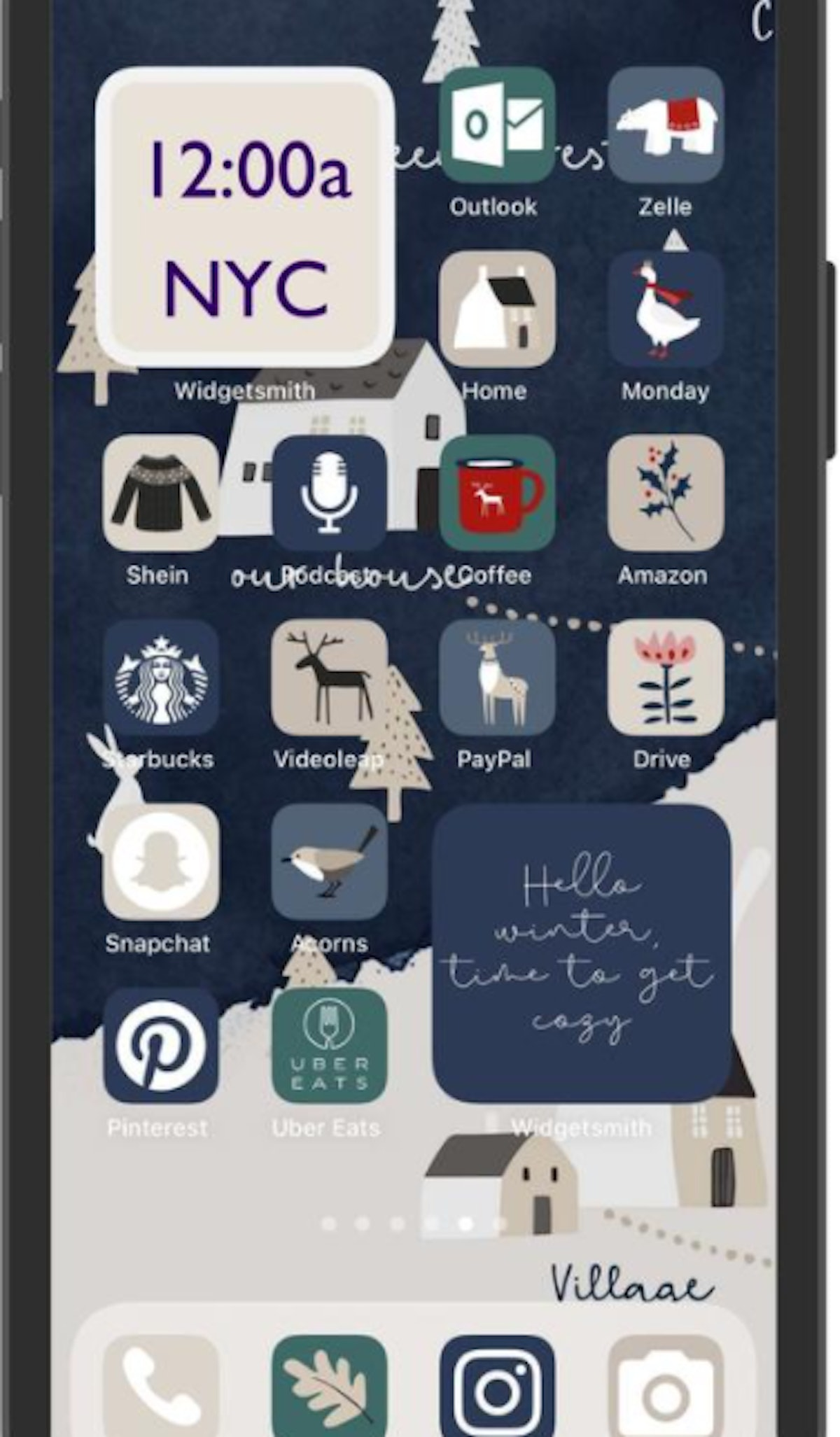 Winter Illustrations iOS 14 Home Screen Design Pack