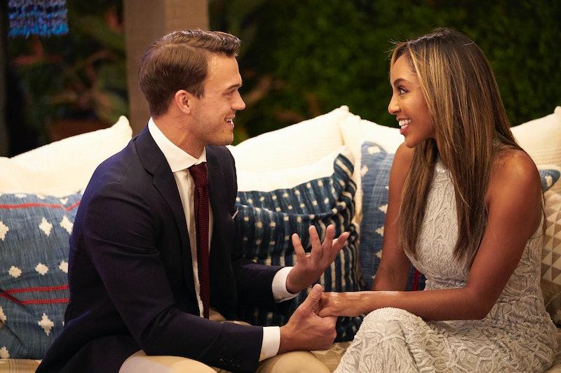 a photo of Bachelorette contestant Ben Smith talking to Bachelorette Tayshia