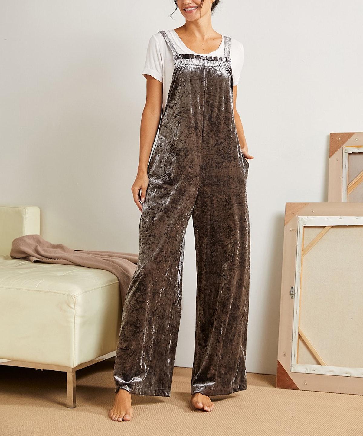 Zulily Charcoal Velvet Overalls