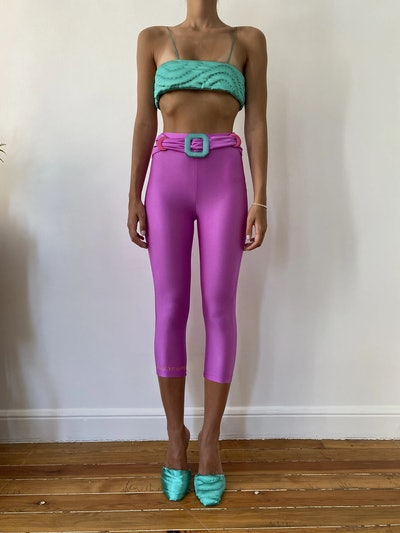 Pink Colored Belt Tights