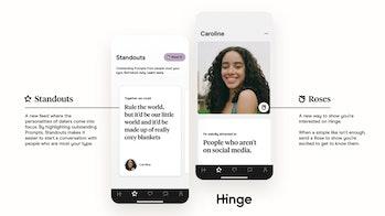 Graphic explaining Hinge's new Standouts and Roses features.