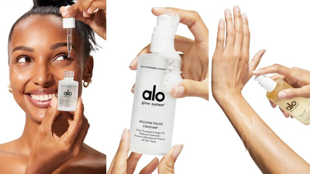 Alo Yoga's new skincare line, the Glow System, shown in product images.