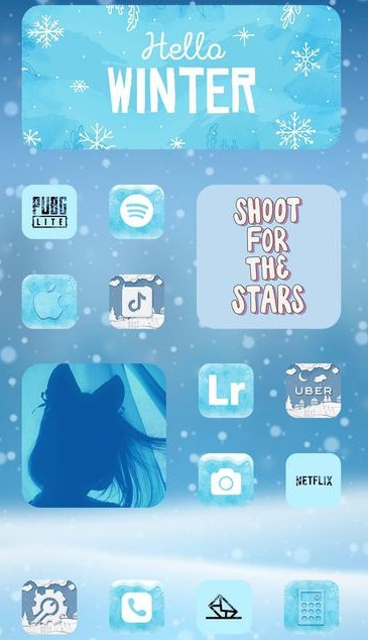 Winter Aesthetic iOS 14 Home Screen Design
